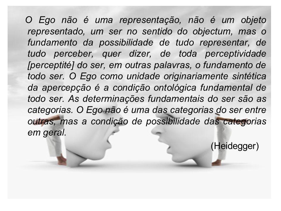 O Ego não é uma representação, não é um objeto representado, um ser no sentido do objectum, mas o fundamento da possibilidade de tudo representar, de tudo perceber, quer dizer, de toda perceptividade [perceptité] do ser, em outras palavras, o fundamento de todo ser. O Ego como unidade originariamente sintética da apercepção é a condição ontológica fundamental de todo ser. As determinações fundamentais do ser são as categorias. O Ego não é uma das categorias do ser entre outras, mas a condição de possibilidade das categorias em geral.